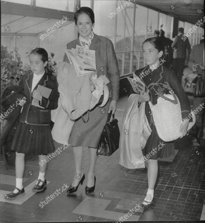 Mrs Oona Chaplin Wife Of Actor Charlie Chaplin With Two Of Her Children Victoria Chaplin And Josephine Chaplin Leaving London Airport For Switzerland Mrs Charlie Chaplin