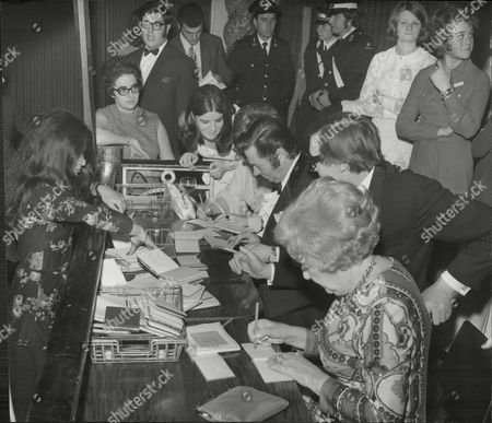 Actors Doris Hare Stephen Lewis And Reg Varney Of The Tv Series 'on The Buses' Signing Autographs At The Weekend Mail Dance 1970.