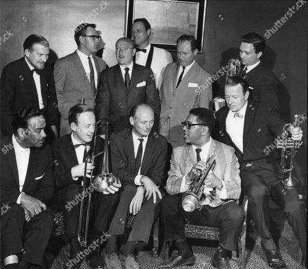 Ken Colyer, Terry Lightfoot, Bud Freeman, Peter Schilperoort, guest, Ronnie Ross.  Front - Buck Clayton, Chris Barber, Lord Montagu, Dizzy Gillespie and Humphrey Lyttleton