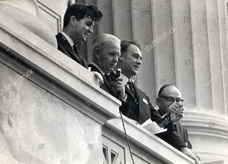 Irish Politicians L To R John Taylor Brian Faulkner William Craig And Unknown At Stormont After Forming A New Alliance. (lord Faulkner Of Downpatrick)