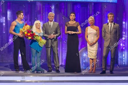 Charlene Tilton and Matt Gonzalez with presenters, Phillip Schofield, Christine Bleakley, Jayne Torvill, Christopher Dean