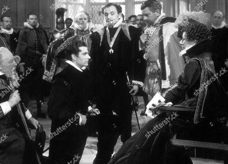 Fire Over England,  Morton Selten,  Laurence Olivier,  Henry Oscar,  Leslie Banks,  Flora Robson