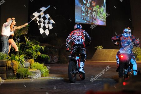 Dougie Lampkin and David Knight set off on the Revolution show course