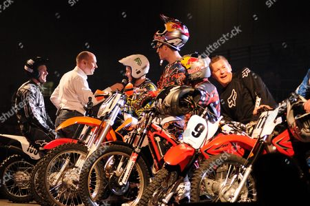 John McGuinness is interviewed next to Chris Walker, Neil Hodgson, Dougie Lampkin and David Knight after completing the Revolution show course