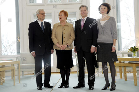 Pentti Arajarvi with wife Finnish President Tarja Halonen, President-elect Sauli Niinisto and his wife Jenni Haukio