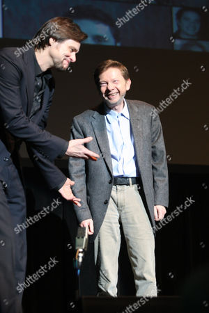 Stock Picture of Jim Carrey impersonating Eckhart Tolle