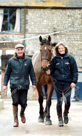 Josh Gifford and daughter Kristina Cook with Gangster at their stables, Sussex