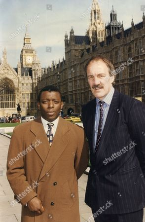 Garth Crooks- Former Footballer And Roger Uttley- Rugby Player Outside House Of Commons For Meeting Of On School Sport Eduction 1994.