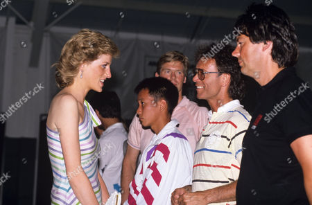Princess Diana with Peter Fleming, Cliff Richard and Mike Read