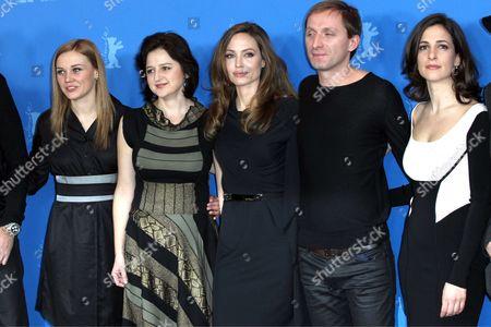 Actors Alma Terzic, Vanesa Glodjo, Angelina Jolie, Goran Kostic, Zana Marjanovic and Rade Srbedzija