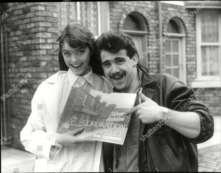 Stock Image of Stephanie Tague And Michael Le Vell Actors On Set Of Tv Soap Opera Coronation Street 1985.