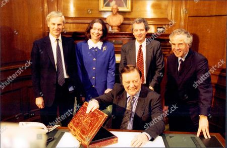 Chancellor Of The Exchequer Kenneth Clarke With His Treasury Team. L-r: David Heathcoat-amery Angela Knight William Waldegrave And Michael Jack.