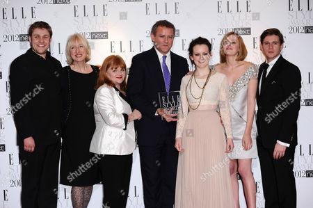 The cast of 'Downton Abbey' - Lesley Nicol, Thomas Howes, Hugh Bonneville, Laura Carmichael