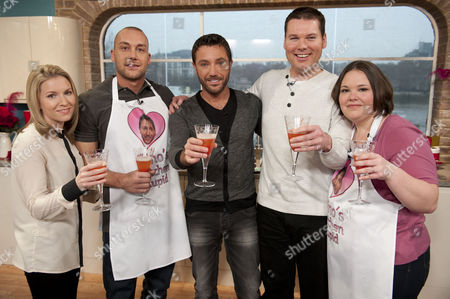 Stock Image of Gino D'Acampo with Lee Goodin and Kirsty Meecham