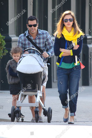 Jessica Alba with husband Cash Warren, daughters Honor Marie, Haven Garner