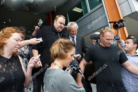 Stock Image of Kim Dotcom Schmitz and lawyer Willy Akel