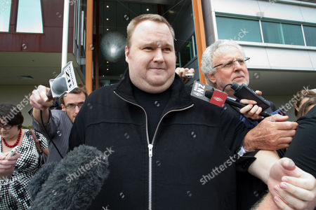 Editorial photo of MegaUpload.com founder Kim Dotcom released on bail, North Shore District Court, Auckland, New Zealand - 22 Feb 2012
