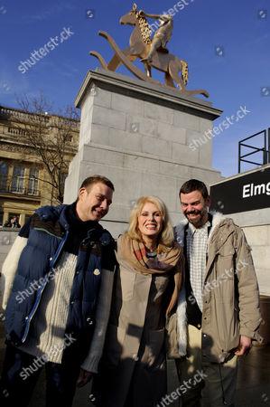Joanna Lumley with artists Michael Elmgreen and Ingar Dragset