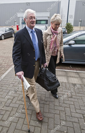 Christopher Tappin and his wife Elaine arriving at Heathrow Police station where Christopher Tappin surrendered himself  for extradition to the the USA.