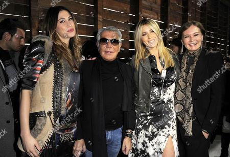 Melissa Satta, Roberto Cavalli, Elena Santarelli and Eva Cavalli