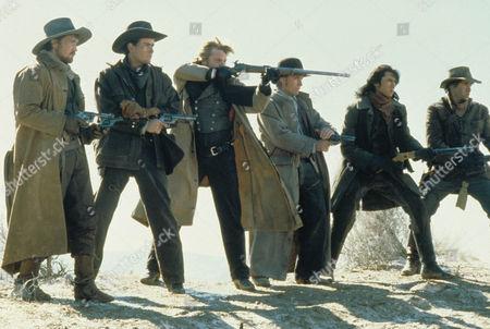 Stock Photo of Young Guns,  Casey Siemaszko,  Charlie Sheen,  Kiefer Sutherland,  Emilio Estevez,  Lou Diamond Phillips,  Dermot Mulroney