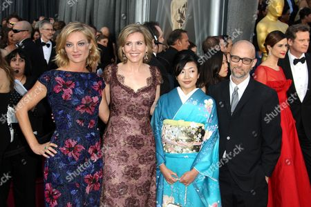 Stock Photo of Director Lucy Walker, producer Kira Carstensen, Aki Mizutani, and Moby