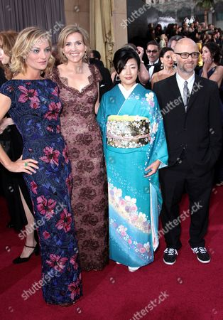 Stock Picture of Director Lucy Walker, producer Kira Carstensen, Aki Mizutani, and Moby