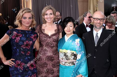 Stock Image of Director Lucy Walker, producer Kira Carstensen, Aki Mizutani, and Moby