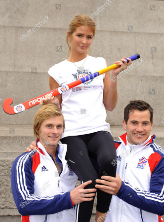 Millie Mackintosh from 'Made in Chelsea' with members of GB Hockey team with L-R Ashley Jackson and James Tindall