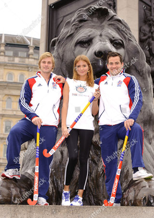 Millie Mackintosh from 'Made in Chelsea' with members of GB Hockey team L-R Ashley Jackson and James Tindall