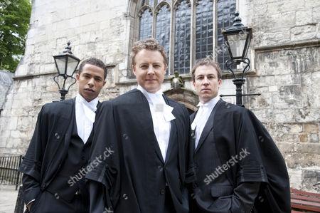 L-R: Ukweli Roach as Tom Greening, Samuel West plays Zak Gist and Tobias Menzies as Richard Pembroke.