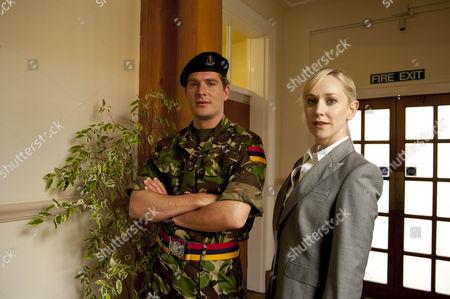Stock Image of Hattie Morahan as Hannah and Mark Umbers as Major Sir John Parker.