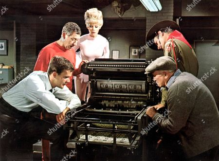 Stock Picture of Who's Minding The Mint?,  Jim Hutton,  Jack Gilford,  Dorothy Provine,  Joey Bishop,  Walter Brennan