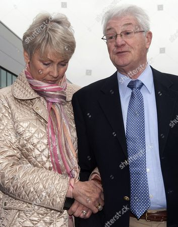 Christopher Tappin and his wife Elaine outside Heathrow police station