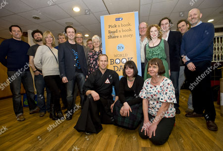 Stock Image of World Bookday southbank authors front row right to left Julia Donaldson, Holly Webb, Chris Bradford with Jacqueline Wilson behind