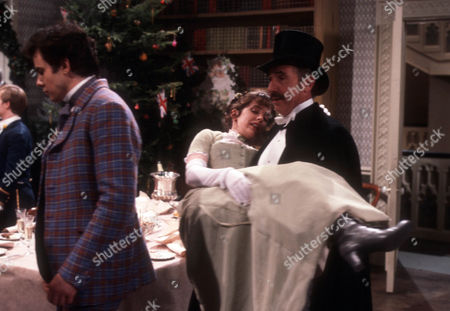 Stock Picture of Daniel Abineri as Reginald Paulover, Amanda Kirby as Ermyntrude Johnson and Nigel Hawthorne as The Hon. Vere Queckett