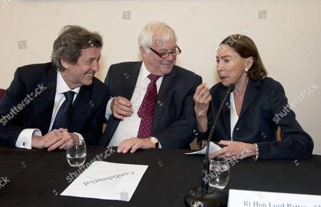 Melvyn Bragg, University Chancellor Chris Patten and Mica Ertegun