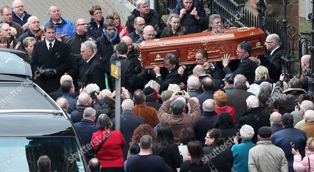 The coffin at St Patrick's Church, Donegall Street, Belfast
