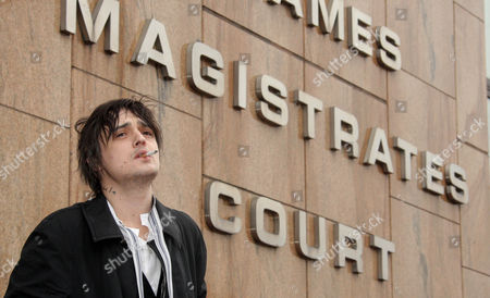 Pete Doherty Appearing At Thames Magistrates Court Accused Of Supplying Class A Drugs To The Now Deceased Robyn Whitehead. He Is Accused With Two Co-defendants Alan Wass 29 And Peter Wolfe 42.