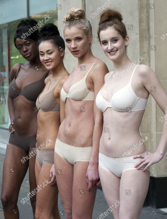 Marks And Spencer ( M&s) Launches The New ' Nearly Naked ' Lingerie Range Which Has Been Designed To Make The Wearer Fell Like Theyare Not Wearing Lingerie At All At Their Flagship Store Oxford Street London. Models Left To Right : Joelle Kayembe Ana Tanaka Sarah Wiffen And Catherine Thomas ' Nearly Naked ' Bra And Knickers ' Nearly Naked ' Underwear. 03.02.11