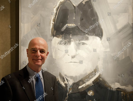 Sir John Scarlett Poses In Front Of A Painting Of Mansfield Cumming The First Chief Of Sis. Artist James Hart Dyke With His Exhibition ' A Year With Mi6 '. As Part Of The Centenary Celebrations Of The Secret Intelligence Service (mi6) He Was Invited To Record Their Work In A Series Of Paintings And Sketches. The Exhibition Is Being Held At Mount Street Galleries Mayfair London And Comprises 40 Oil Paintings And Many Sketches And Studies 14.02.11