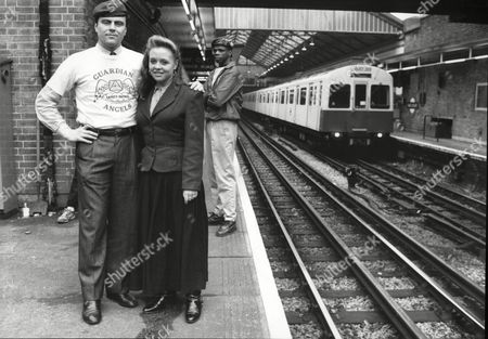 Editorial picture of Guardian Angels Trying To Prevent Crime On The Underground Trains And Stations In London Pictured Angels Leader Curtis Sliwa With Actress Kate Gorman Who Had Her Purse Stolen On Tube The Guardian Angels Is A Non-profit International Volunteer Organiz