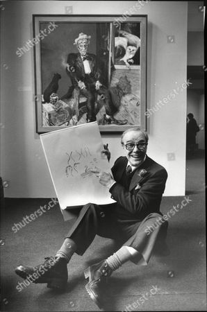 Comedian And Actor Max Wall With Sketch Pad Looking At Painting By Artist Maggi Hambling At National Portrait Gallery For Television Programme Maggi And Max