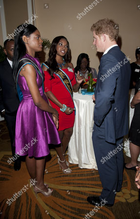 Prince Harry meets Anastagia Pierre (Miss Bahamas - red dress) and Miss World Bahamas