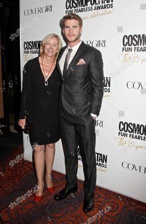 Stock Photo of Liam Hemsworth with mother Leonie Hemsworth