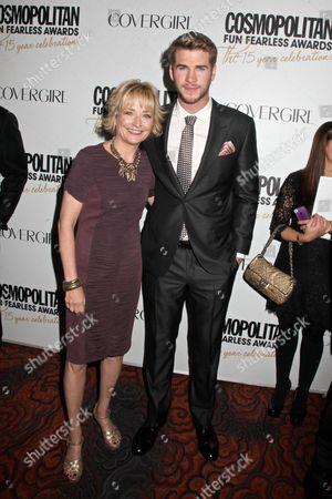 Kate White (COSMOPOLITAN Editor-in-Chief) and Liam Hemsworth