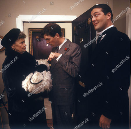 Stock Picture of Mary Wimbush as Aunt Agatha Gregson, Hugh Laurie as Bertie Wooster and Stephen Fry as Jeeves