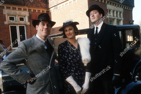Stock Picture of Hugh Laurie as Bertie Wooster, Jane Downs as Lady Glossop and Stephen Fry as Jeeves
