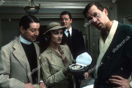 Graham Seed as Sidney Hemmingway, Rebecca Saire as Aline Hemmingway, Stephen Fry as Jeeves and Hugh Laurie as Bertie Wooster