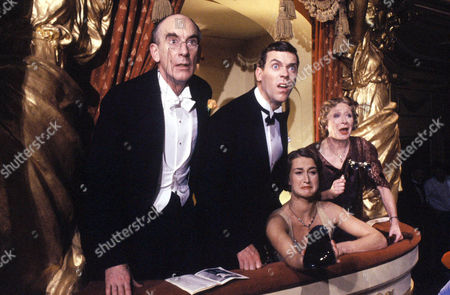 Roger Brierley as Sir Roderick Glossop, Hugh Laurie as Bertie Wooster, Liz Kettle as Honoria Glossop and Jane Downs as Lady Glossop